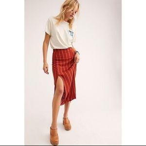 NWOT Free People Striped side slit midi skirt